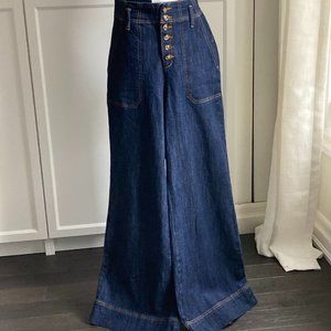 PILCRO & THE LETTERPRESS RETRO INSPIRED WIDE LEG BUTTON FLY HIGH WAISTED JEANS